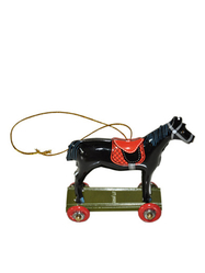 Pendant in tin Horse, black