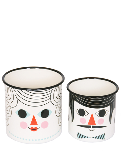Flower Pot Set Enamel Ingela P Arrhenius 2 pcs, People