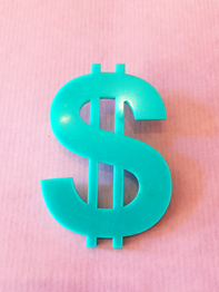 "Earring Plastic Fantastic ""Dollar"" 1pc"