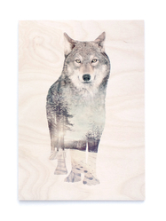 Tavla/Print på plywood Faunascapes - Wolf