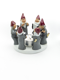 Candle holder Rocking Elfs, Grey 8 cm