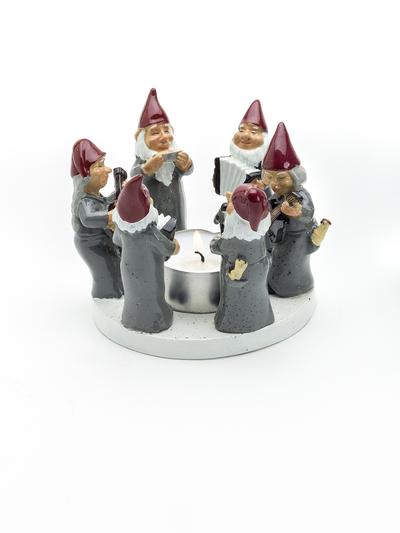 Candle holder Rocking Elfs, Grey 8 cm