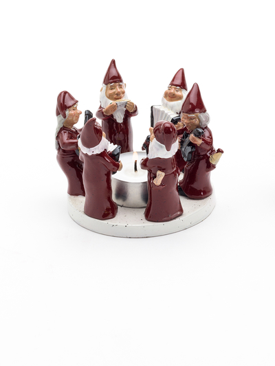 Candle holder Rocking Elfs, Red 8 cm