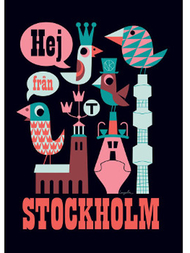 "Poster Ingela P Arrhenius ""Hej från Stockholm"" 50x70 cm, black"