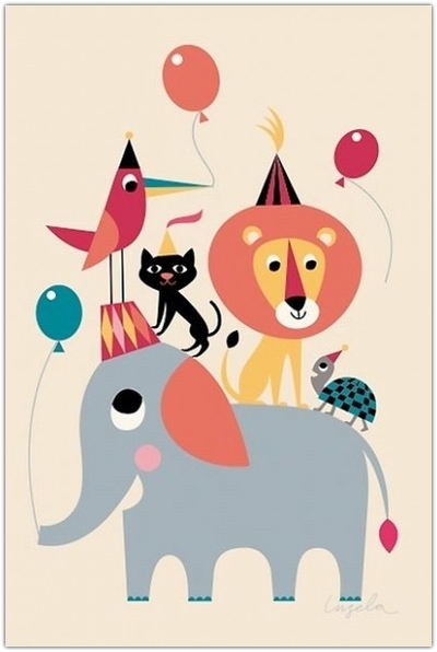 "Affisch Ingela P Arrhenius ""Animal party"" 50x70 cm"