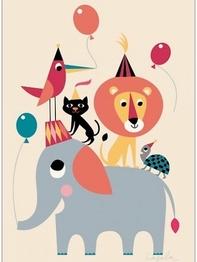 """Poster Ingela P Arrhenius """"Animal party"""" 50x70 cm"""