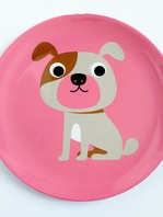 "Plate Ingela P Arrhenius ""Dog on Pink"""