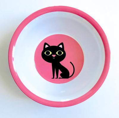 """Bowl Ingela P Arrhenius """"Cat on Pink"""""""