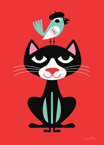 """Poster Ingela P Arrhenius """"Svart katt"""" 30x40 cm"""