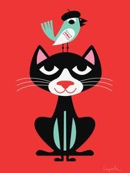 """Affisch Ingela P Arrhenius """"Svart katt"""" 30x40 cm"""