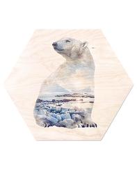Tavla/Print på plywood Faunascapes - Polarbear