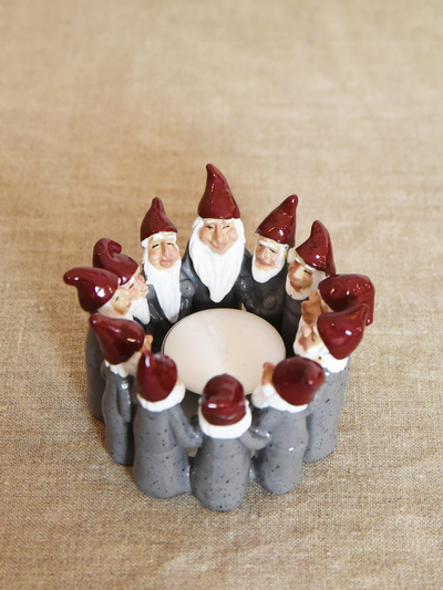 Candle holder Elf Ring of 6,5 cm, grey