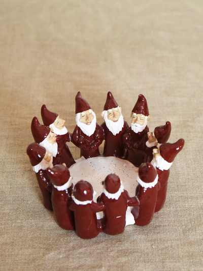 Candle holder Elf Ring of 7 cm, red