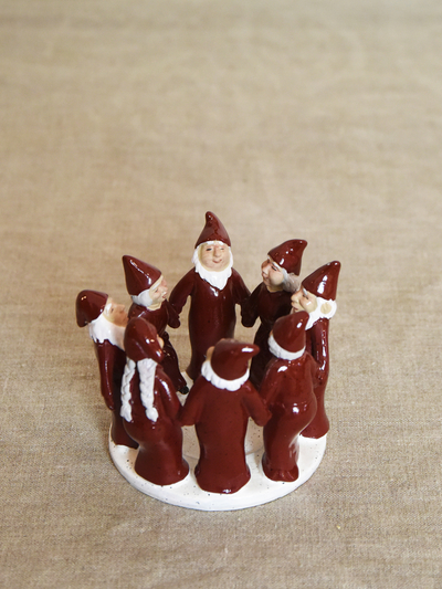 Candle holder Elf Ring Dance 9,5 cm, red