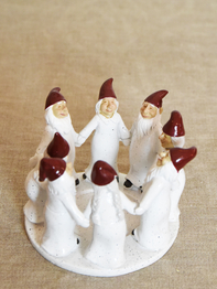 Candle holder Elf Ring Dance 13,5 cm, white