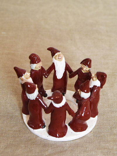 Candle holder Elf Ring Dance 13,5 cm, red
