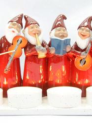 Adventsljusstake Tomteorkester, röd