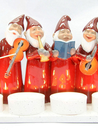 Advent candle holder Elf Orchestra, red
