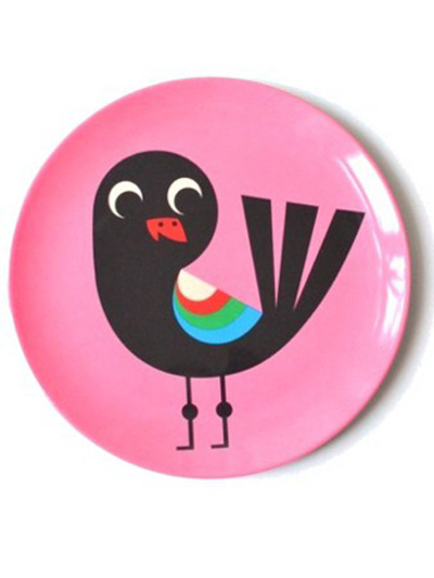 "Plate Ingela P Arrhenius ""Bird on pink"""