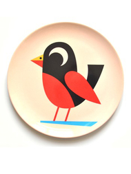 "Plate Ingela P Arrhenius ""Bird on beige"""