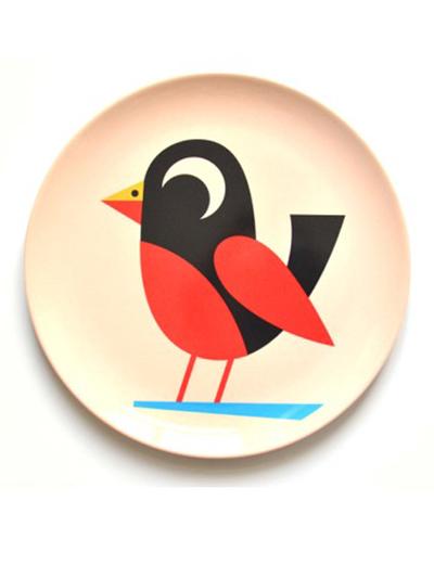 "Plate Ingela P Arrhenius ""Bird on beige"""
