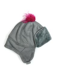 Children's Hat in sheepskin, grey/pink