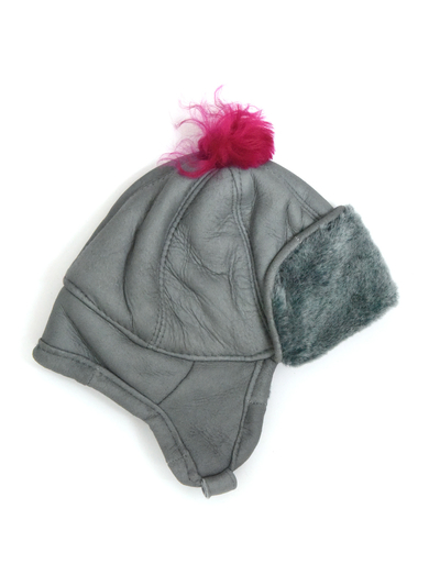 Children's Hat in sheepskin, grey/pink