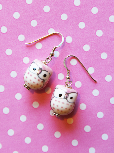 Earrings Owl, light pink
