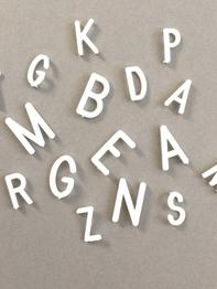 Bokstäver till bokstavstavla - Stora, vita