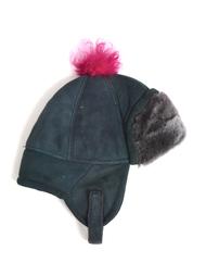 Children's Hat in sheepskin, dark blue/pink