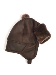 Children's Hat in sheepskin, brown/brown
