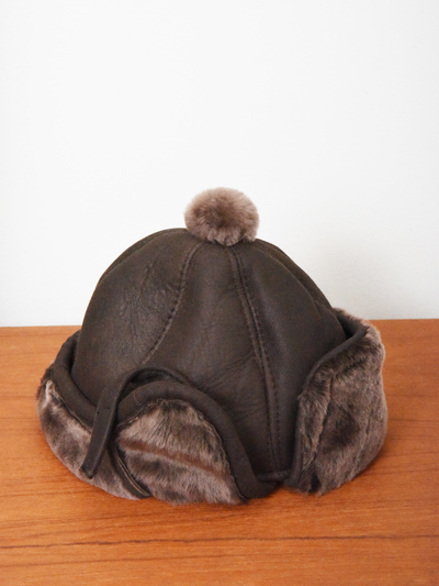 Children's Hat in sheepskin, brown/brown