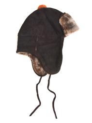 Hat in sheepskin, brown/orange