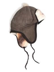 Hat in sheepskin, greybrown/white