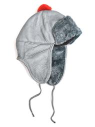 Hat in sheepskin, grey/red