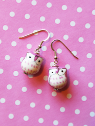 Earrings Owl, pink