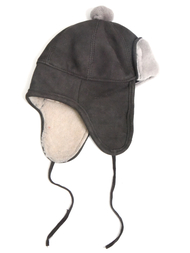 Hat in sheepskin, grey/grey