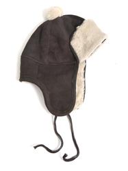 Mössa Fårskinn, brun/vit tofs