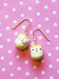 Earrings Owl, yellow
