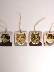 Etiketter, Katter med retro kläder, 8 st