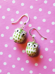 Earrings Owl, green
