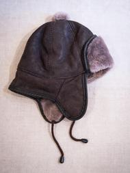 Children's Hat in sheepskin, dark brown/grey