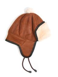 Children's Hat in sheepskin, brown/white