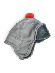 Mössa Fårskinn barn, gråblå/röd tofs