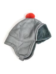 Children's Hat in sheepskin, grey/red