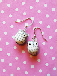 Earrings Owl, grey purple