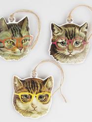 Etiketter, katter med glasögon, 9 st