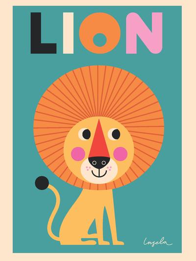 """Poster Ingela P Arrhenius """"Lion"""" 50x70 cm"""