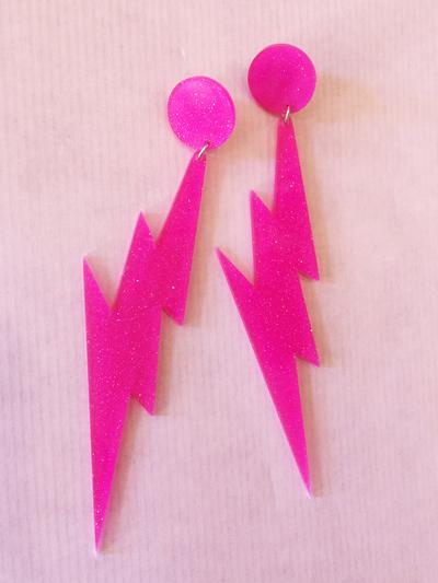 """Örhängen Plastic Fantastic """"Blixt"""", rosa"""