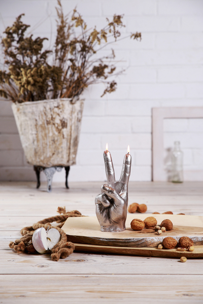 Handljus - Peace, Silver